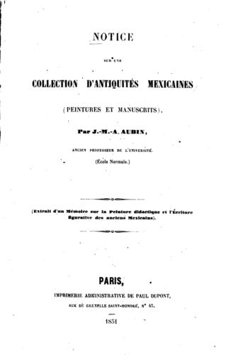 Notice sur une collection d'antiquités mexicaines (peintures et manuscrits)