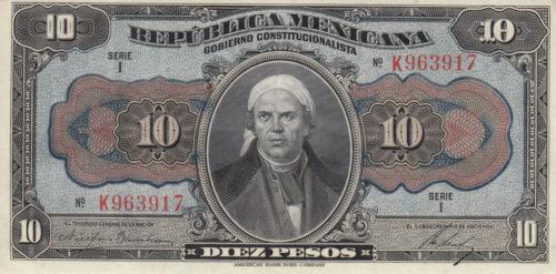 Avers 10 pesos 1915