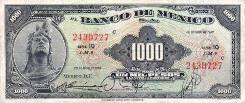 Avers 1000 pesos 1936-1977