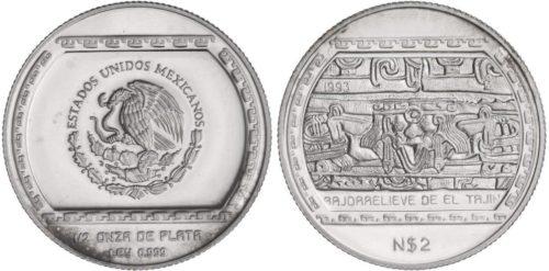2 nuevos pesos 1993 Bajorrelieve de El Tajin