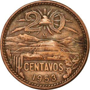 Revers 20 centavos 1953