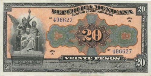 Avers 20 pesos 1915
