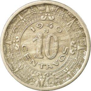 Revers 10 centavos 1940