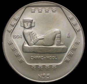 Revers 5 nuevos pesos Chaac-mool
