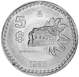 Revers 5 pesos 1980-1985 Quetzalcoatl