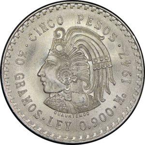 Revers 5 pesos 1947-1948 Cuauhtemoc
