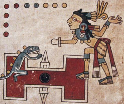 Joueur de jeu de pelote et symbole correspondant au jeu, manuscrit Tezcatlipoca.