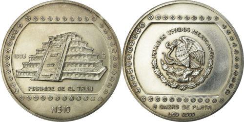 10 nuevos pesos 1993 : piramide del Tajin