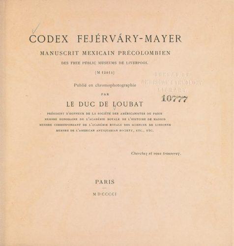 Codex Fejérvary-Mayer : page de titre