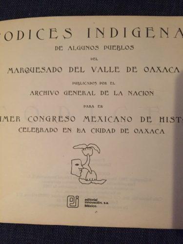Códices indígenas de algunos pueblos del marquesado del valle de Oaxaca : page de titre
