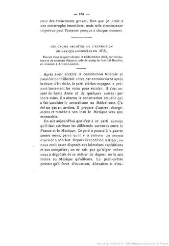 Les causes secrètes de l'Expédition du Mexique annoncées en 1838