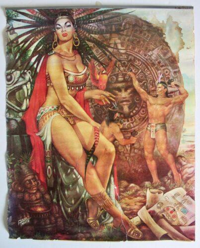 Illustration de calendrier Galas par Angel Martin représentant la Malinche devant le calendrier du Soleil en train d'être sculpté.