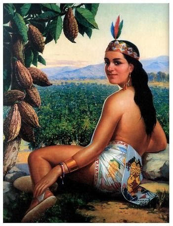 Indienne et cabosse de cacaoyer.