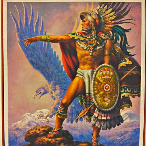 Guerrier aztèque sur fond de volcans Popocatépetl et Iztaccíhuatl. Jesús de la Helguera (1910-1971)