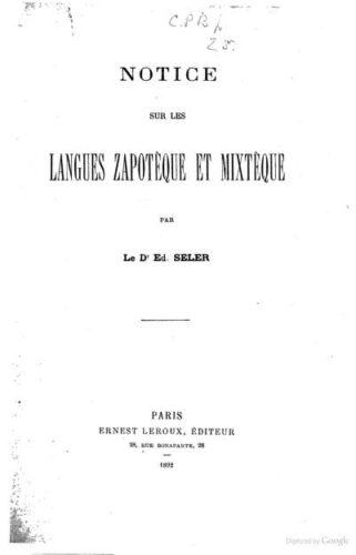 Notice sur les langues zapotèque et mixtèque