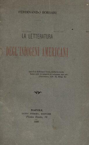 La Letteratura degl' indigeni Americani