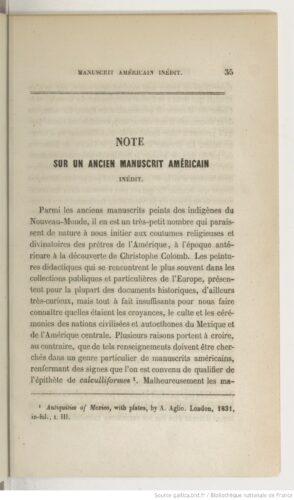 Note sur un ancien manuscrit américain inédit